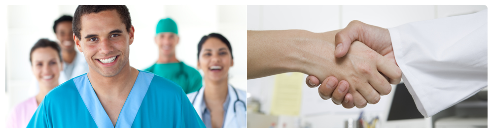 a portrait of a male nurse smilling | patient and doctor's hand shaking